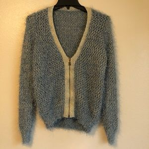 Adorable Blue Fuzzy Cardigan with Gold Accents S
